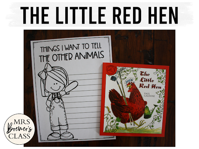Little Red Hen book study literacy unit with Common Core aligned companion activities, class book & craftivity for Kindergarten and First Grade