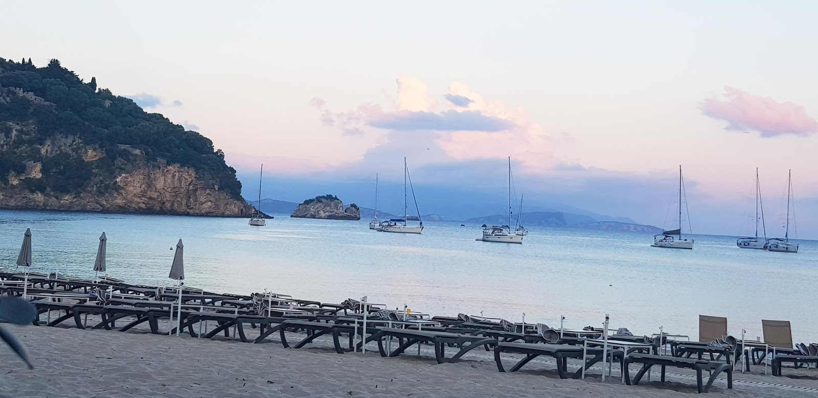 Pink sky over Voltas beach, Parga, in Greece