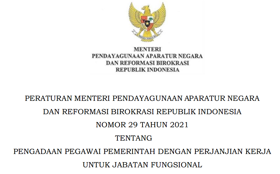 Peratuan Menpan atau Permenpan RB Nomor 29 Tahun 2021 Tentang Pengadaan PPPK Jabatan Fungsional Non Guru