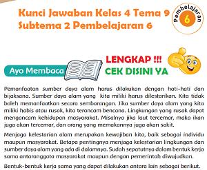 Kunci Jawaban Kelas 4 Tema 9 Subtema 2 Pembelajaran 6 www.simplenews.me