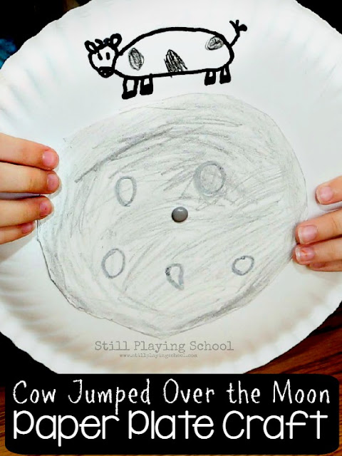 Interactive Hey Diddle Diddle Nursery Rhyme Craft for Kids! Make the cow jump over the moon as you teach position words like over, under, and beside!