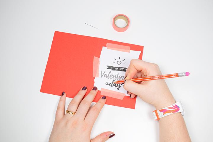 Etape 4 DIY broder une carte de saint valentin