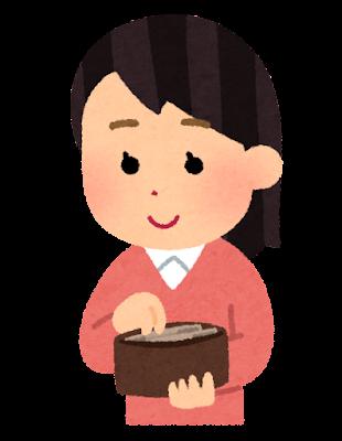 財布からお金を取り出す人のイラスト(女性)