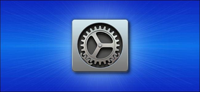رمز تفضيلات نظام Mac من Apple على خلفية زرقاء ،