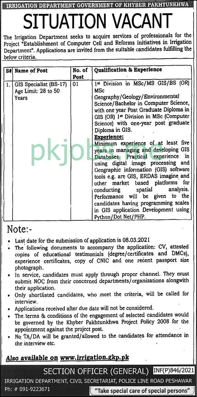 Latest Irrigation Department Posts 2021