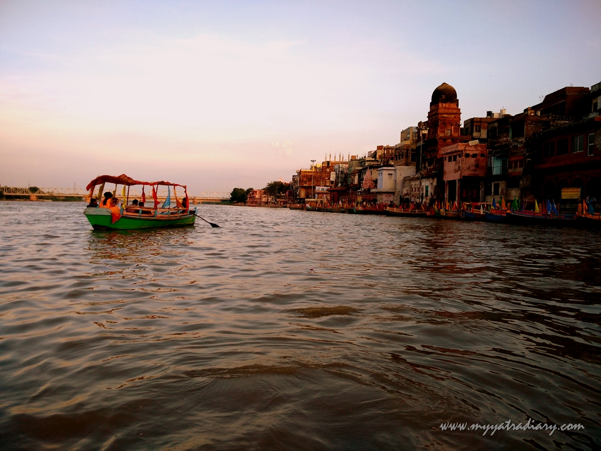Boat ride by the Yamuna River in Mathura