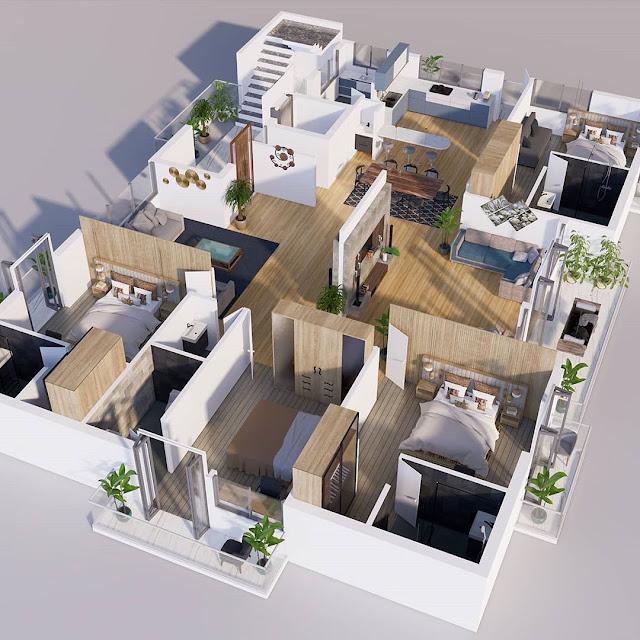 Denah Rumah Minimalis 3 Kamar dengan Luas Sama