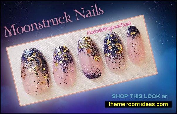 moonstruck nails moon stars nail designs gold charms nail decorations moon stars starry themed nails