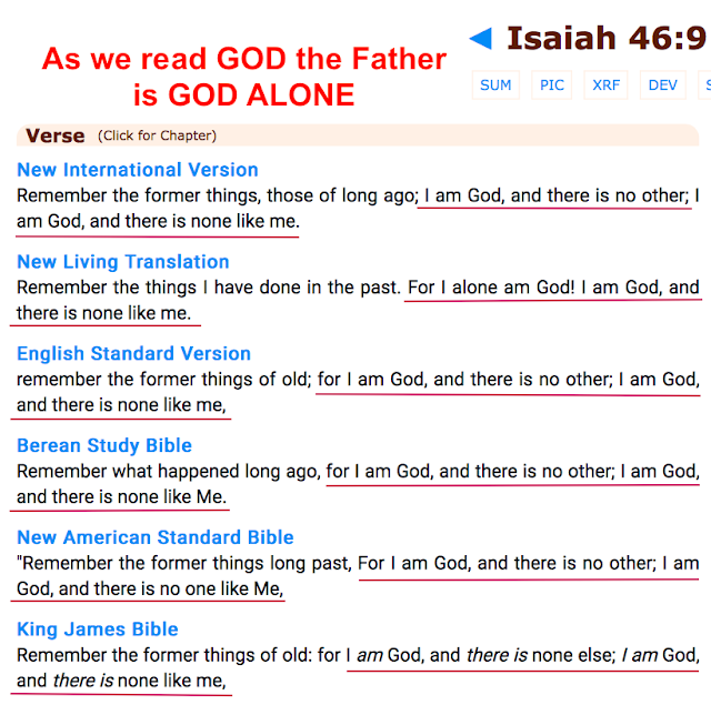 Notice there is ONE person only who is GOD who is the Father only.