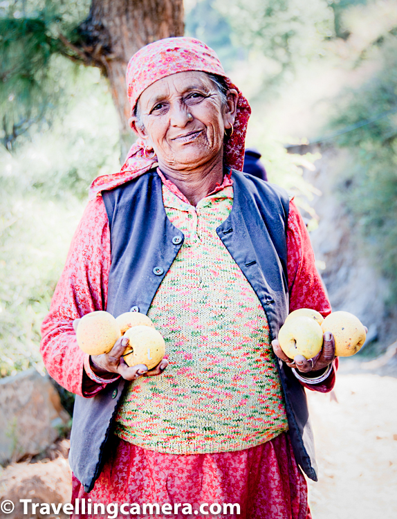 Above photograph shows a kind lady who saw us resting on road side when we were tired on hike-n-bike day. She started chatting with us to know about the cyclists and offered tea at her home, which was few yards away from the road. We didn't have time as we had to continue our walk. She went back and brought these juicy apples for us. Wish that she is staying healthy during these days and enjoying organic produce from her own farms. How can someone forget such sweet experiences. Whenever I look at this photograph, I feel great about these moments and god bless such experiences to all humans.