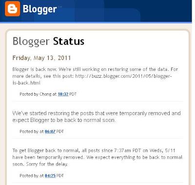 Mengikut kenyataan pihak blogger, entry tersebut tidak hilang sebaliknya hanya dibuang untuk sementara