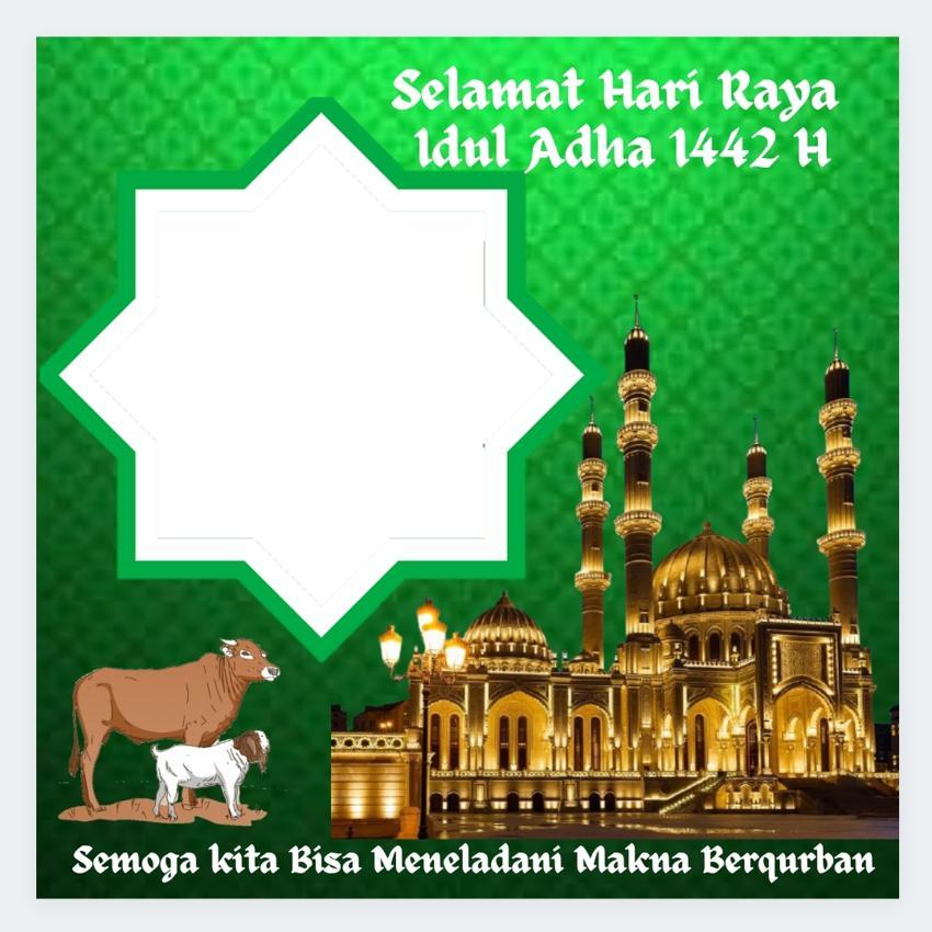 Desain Background Bingkai Twibbon Ucapan Selamat Hari Raya Idul Adha 1442 H atau Lebaran Haji di tahun 2021