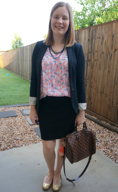black jersey blazer and pencil skirt with leaf print tank and speedy bandouliere business casual office outfit | awayfromblue