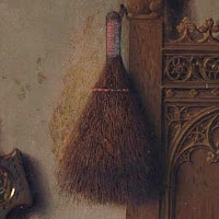 Hand brush hanging from the bedpost of the Arnolfini Portrait by Jan van Eyck, symbolizes gender roles and domestic duties