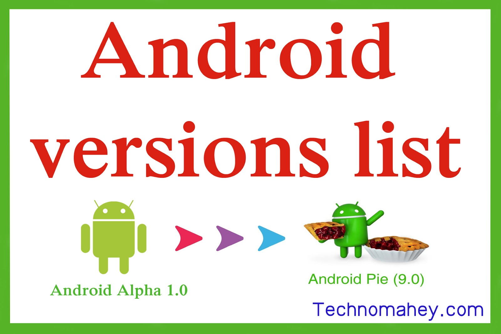android versions list with names