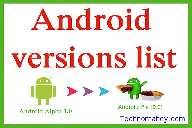 android verrsion list names