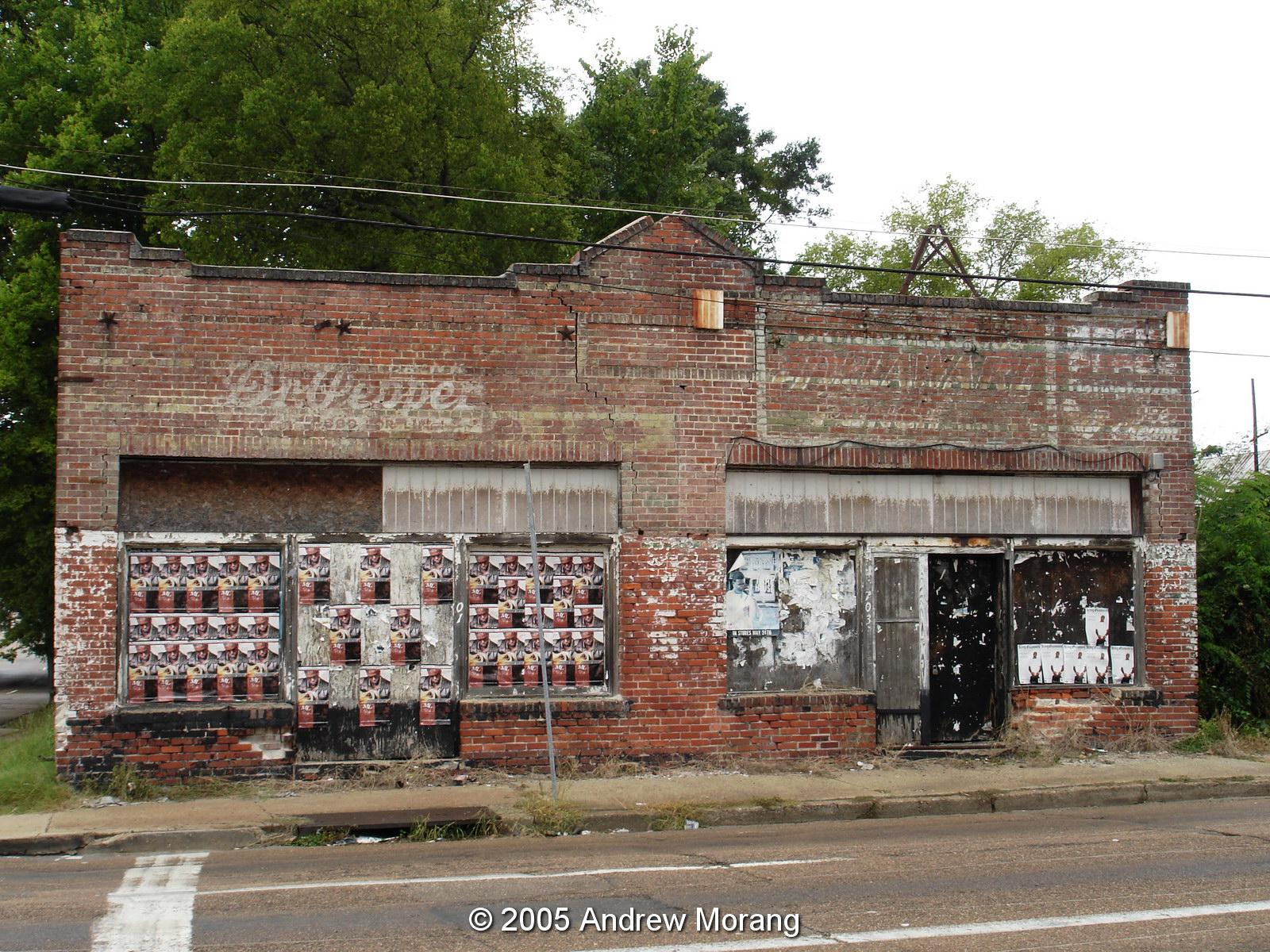 Urban decay abandoned corner store north mill street jackson mississippi