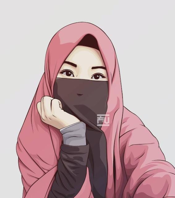 Gambar kartun muslimah comel bercadar Terbaru