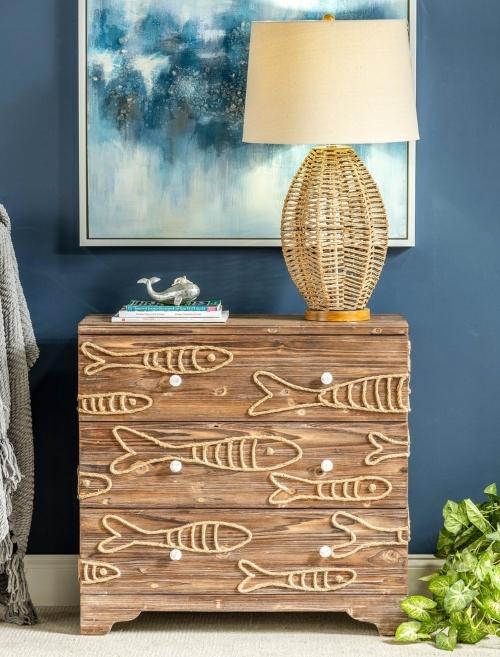 Coastal Nautical Fish Chest Cabinet Dresser
