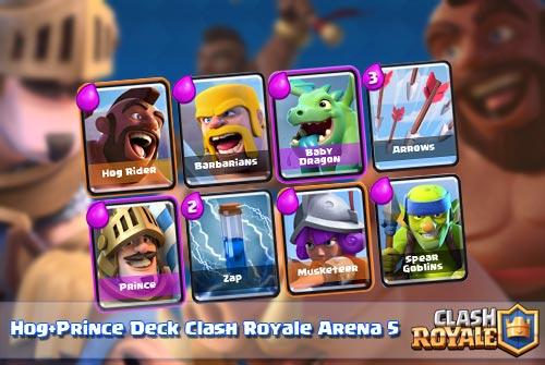 Strategi Deck Hog Rider + Prince Arena 5 Calsh Royale