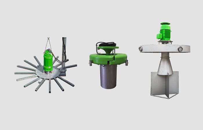 Modelos de aireadores y mezcladores para tanques de igualación