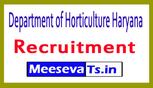 Department of Horticulture Haryana Recruitment