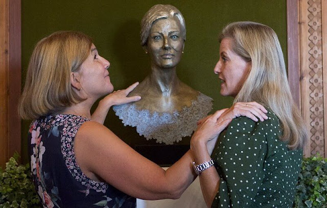 The Countess of Wessex wore a new green polka dot dress from Alice Early