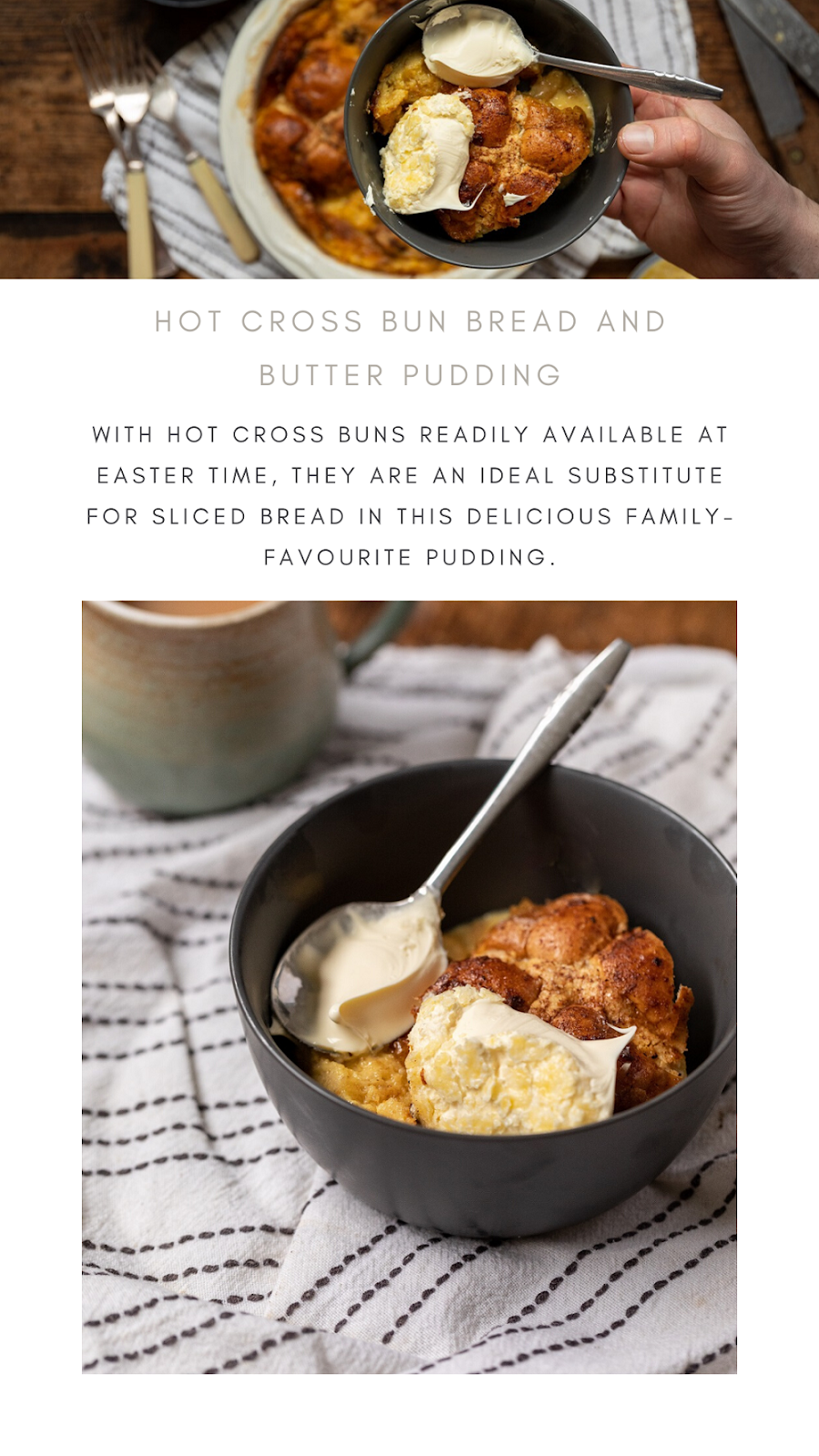 How To Make A Hot Cross Bun Bread And Butter Pudding
