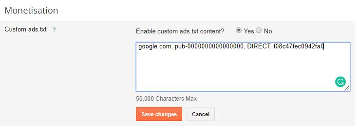 How to add ads.txt file in blogger