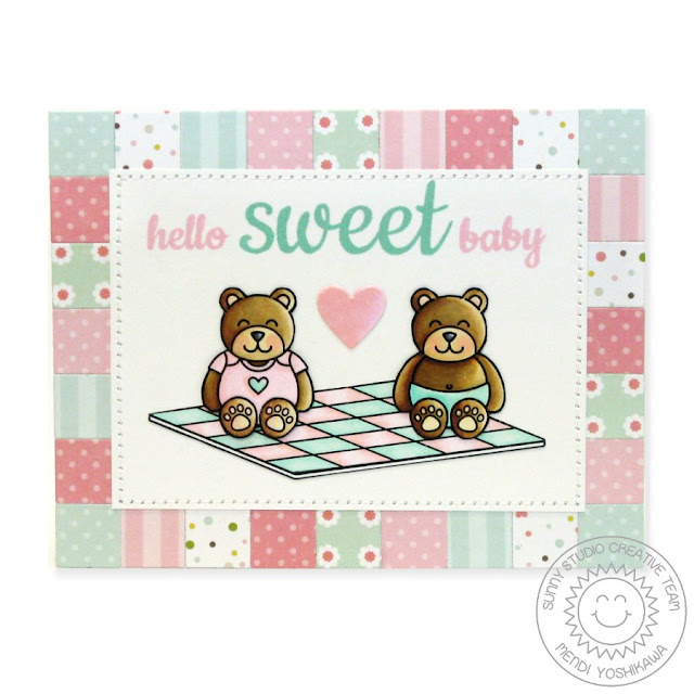 Sunny Studio Stamps: Baby Bear Patchwork Quilt Card by Mendi Yoshikawa