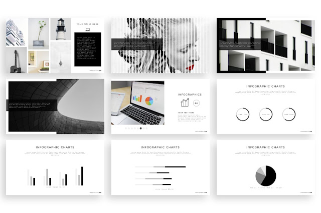Free Minimal PowerPoint template  infographics slides