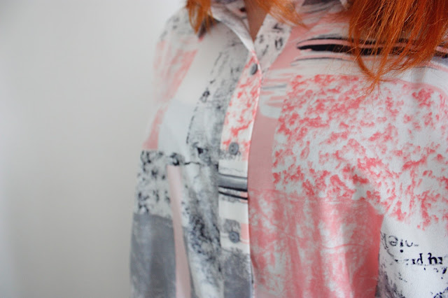 Close up of asos outfit, Oversized Blouse in Contemporary Print