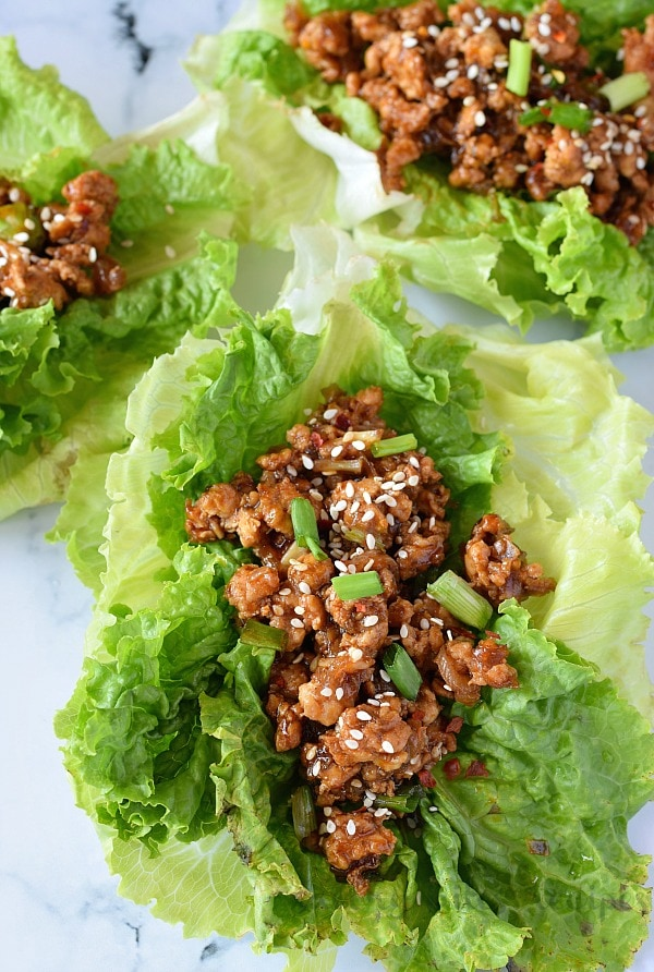 best easy sesame garlic chicken lettuce wraps placed
