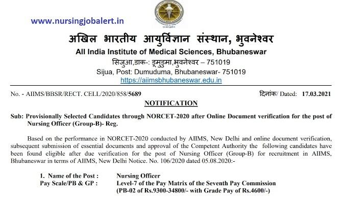 AIIMS Bhubaneshwar Nursing Officer NORCET 2020 Document verification