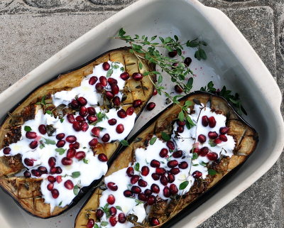 Roasted Eggplant with Pomegranate & Buttermilk-Yogurt Sauce, a simple vegetarian summer meal ♥ AVeggieVenture.com, an unexpected explosion of flavors. Weight Watchers Friendly. Naturally Gluten Free. Vegetarian.
