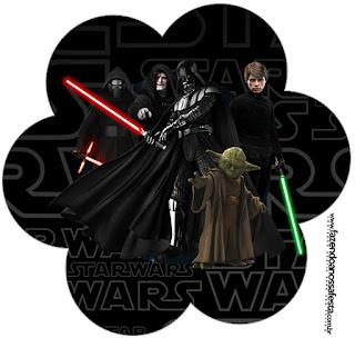 Tarjeta con Forma de Flor de Star Wars.