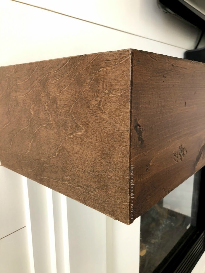 Wood Adhesive Sheet to end of Faux Wood Beam Mantel