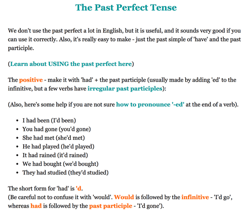 Past Perfect tense formation by perfect-english-grammar.com