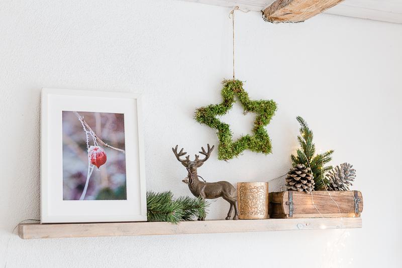 Weihnachtsdekoration mit Stern aus Moos, DIY Idee für Weihnachten, Pomponetti