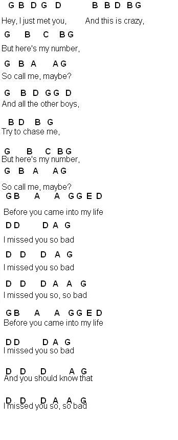 Flute Sheet Music Call Me Maybe