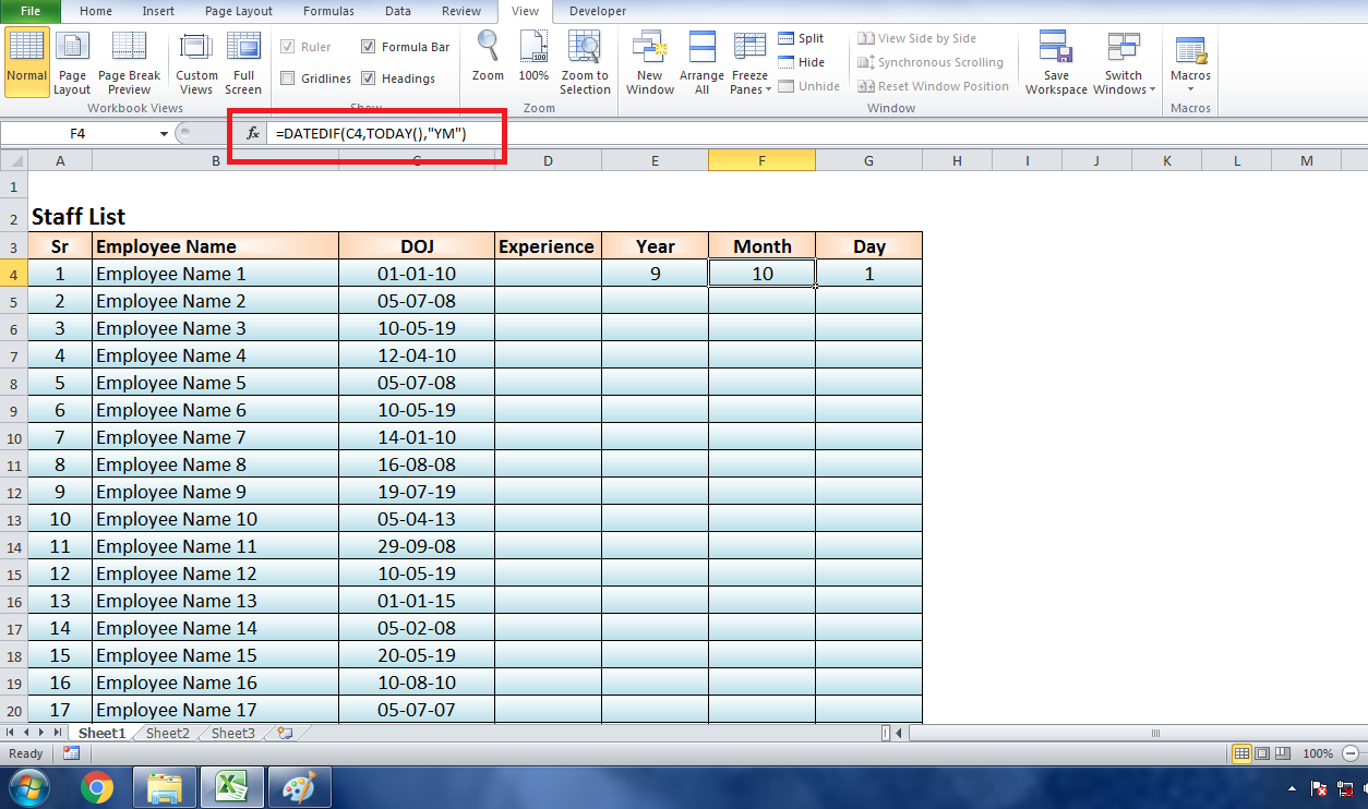 Calculate Experience in Excel Using Formula DATEDIF www.exceldesk.in