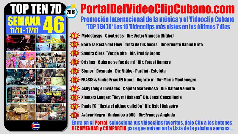 Artistas ganadores del * TOP TEN 7D * con los 10 Videoclips más vistos en la semana 46 (11/11 a 17/11 de 2019) en el Portal Del Vídeo Clip Cubano