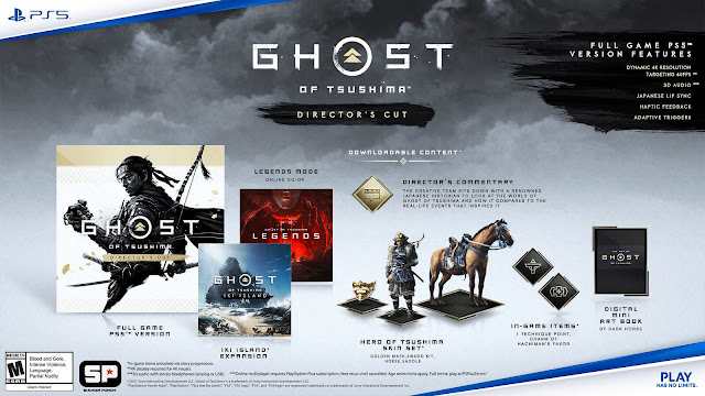 ghost of ikishima director's cut ps4 ps5 2021 digital mini soundtrack original tracks digital artbook concept art japanese voice over lip sync 60 fps 4k resolution 3d audio ps4 save transfer pre-order island expansion dlc mini sequel cross-gen release action adventure sucker punch productions sony entertainment interactive