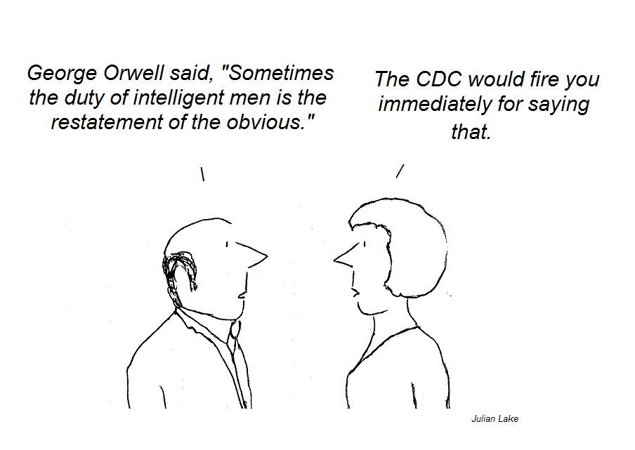 cartoon, julian lake, cdc, hhv-6, george orwell, cfs, chronic fatigue syndrome, nih, fauci
