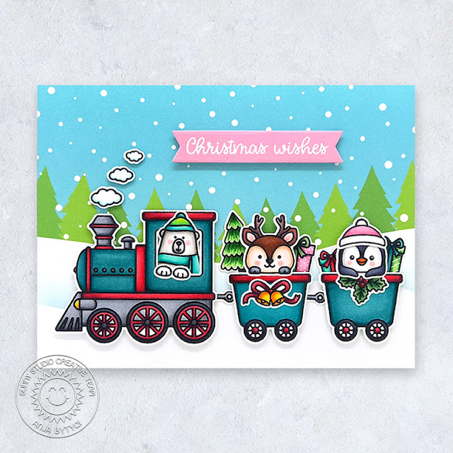 Sunny Studio Stamps: Holiday Express Winter Train Themed Christmas Card by Anja Bytyqi