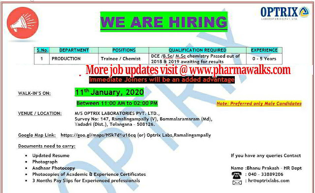 Optrix Laboratories walk-in interview for freshers on 11th Jan' 2020