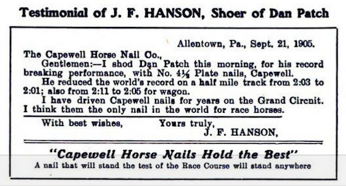J.F. Hanson horseshoer for Dan Patch Allentown PA