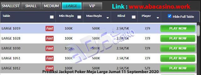 prediksi jackpot poker meja large jumat 11 september 2020