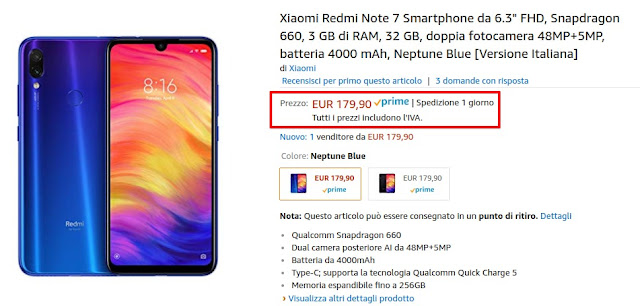 Xiaomi Redmi Note 7 3/32 GB disponibile a 179 euro venduto e spedito da Amazon