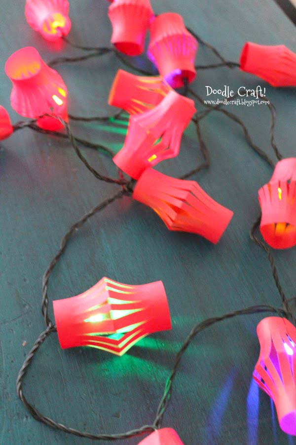 Chinese New Year paper lantern string lights craft and diy, party ideas